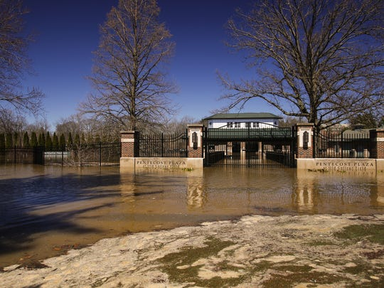 High water levels in the Red Cedar River have flooded