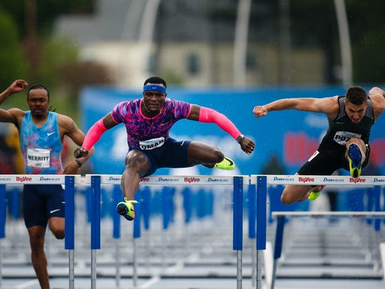Omar McLeod wins the mens 110 meter hurdles at the