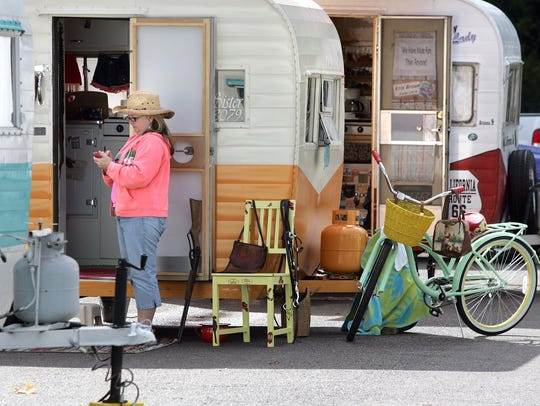 Travel trailers line the rows at popular Manchester
