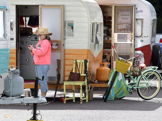 Travel trailers line the rows at popular Manchester State Park last summer.