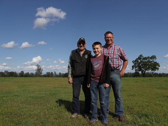 Glenn Hawes, from left, his grandson Cody and his son Greg will be featured in an upcoming film about the Shasta County Farm Bureau.