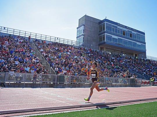 Deubrook Area's Josie Olsen competes in the H.S. Girls Class B 4 x 800-meter Relay during the Howard Wood Dakota Relays Friday, May 5, 2017, at Howard Wood Field in Sioux Falls.