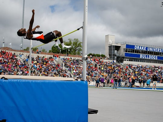 Trayvon Williams of Valley competes in the high jump during the State Track meet at Drake University on Thursday, May 18, 2017, in Des Moines.