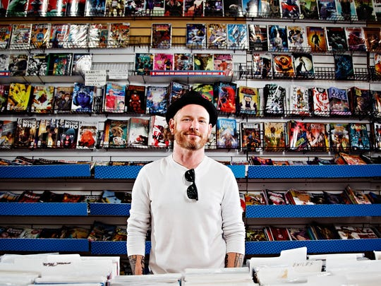 Corey Taylor, frontman for Slipknot and Stone Sour, poses for a portrait after shopping at Jay's CD and Hobby on Monday, May 22, 2017, in Des Moines.