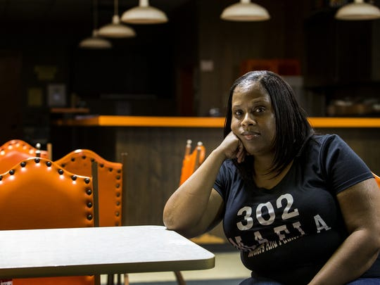 Latisha Jackson, mother of Jahlil Lewis, sits in the lounge at the Youth Empowerment Center in Wilmington on Monday evening, May 8, 2017. She and other parents banded together after their sons were indicted to create a support group called Save Our Sons,and 302 Mothers and Fathers In Action.