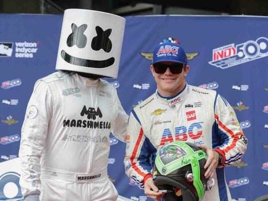 DJ and producer Marshmallo walks the red carpet with IndyCar driver Conor Daly during the 101st running of the Indy 500 at Indianapolis Motor Speedway on Sunday May 28, 2017.