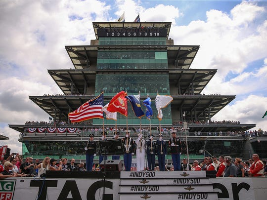 The presentation of colors in front of the pagoda before the start of the 101st running of the Indianapolis 500 at Indianapolis Motor Speedway, Sunday, May 28, 2017.
