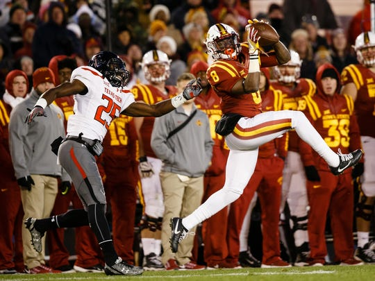 Iowa State's Deshaunte Jones catches a pass during their football game against Texas Tech on Saturday, Nov. 19, 2016 in Ames. Iowa State would go on to win 66-10.