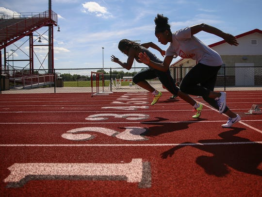 Center, Pike High School runner Lynna Irby practices
