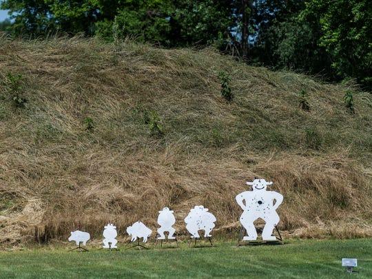 Long range targets sit in an open field for shooters