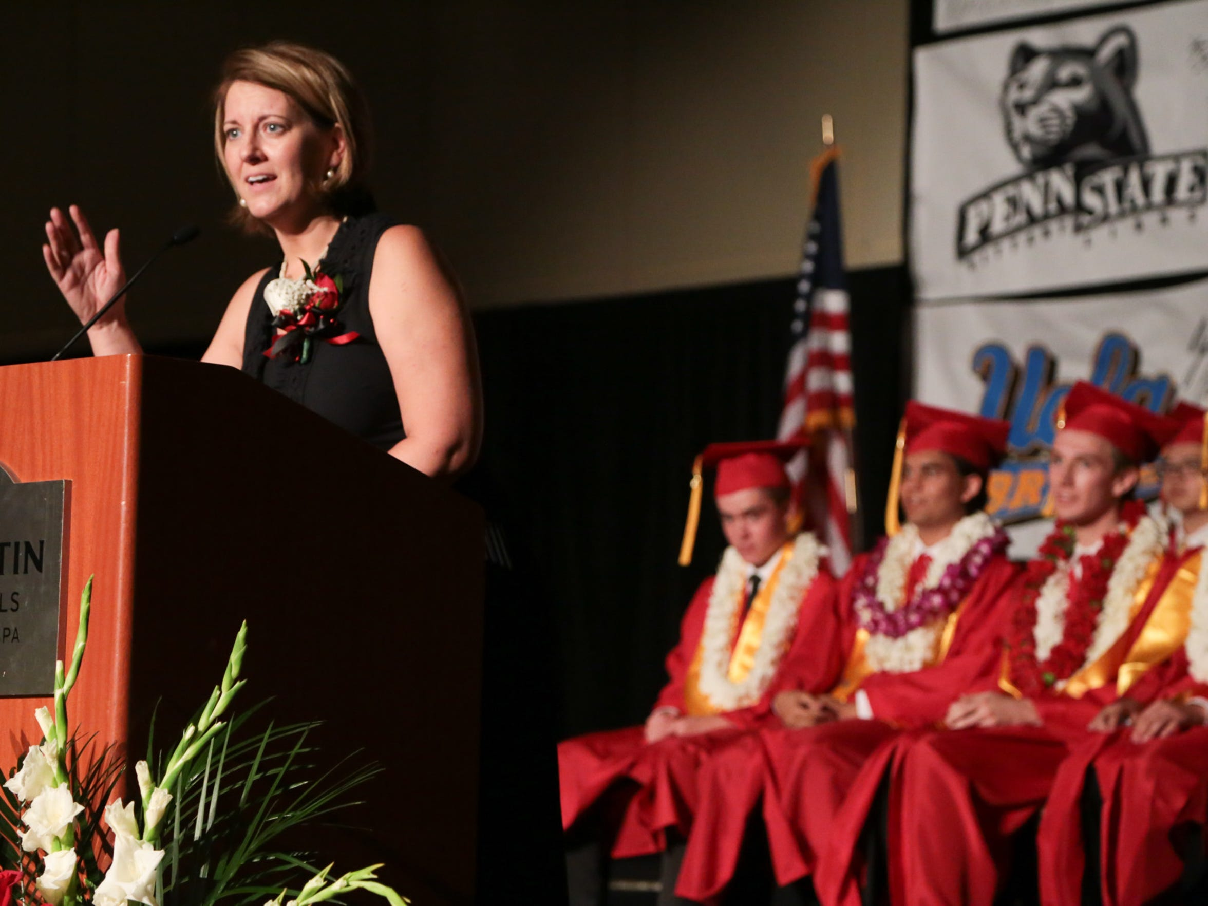 Head of School Susan Rice speaks at the Palm Valley School commencement ceremony, Tuesday, June 13, 2017.