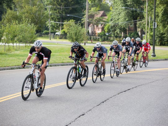 The 2017 Third Annual Baroudeur urban cycling event will take place on Saturday, Aug. 19, 2017 The cyclists are from a previous Baroudeur.