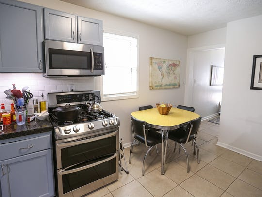The renovated kitchen of Joel and Krissie Aguilar's Bates-Hendricks home.