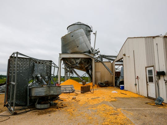Tornado damage at grain elevator in Prairieburg Thursday,