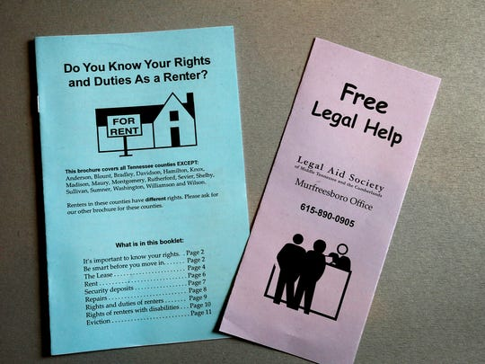 Pamplets that are available at the Legal Aid Society office in Mufressboro, Tenn. Photo taken on June 30, 2017.