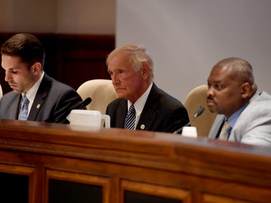 In this file photo, Jackson City Councilman Scott Conger, Jackson Mayor Jerry Gist center and Jackson City Councilman Johnny Lee Dodd at a City Council meeting. Now that Conger is mayor, his promises of transparency are needed to avoid situations caused by Gist's apparent lack of transparency on certain issues during his administration, says Sun Editor Brandon Shields.