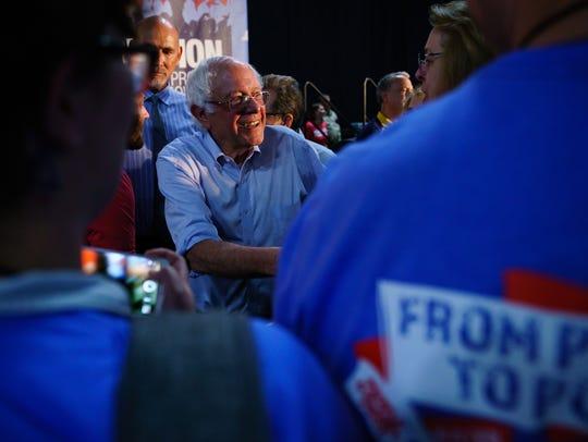 Sen. Bernie Sanders (I-Vt.) greets supporters after