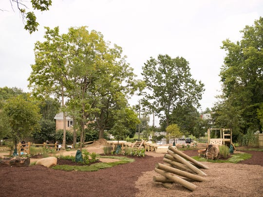 A view of the new naturescape playground space behind Evanston Recreation Center. More than 400 volunteers from local companies helped renovate two other sites in Evanston.