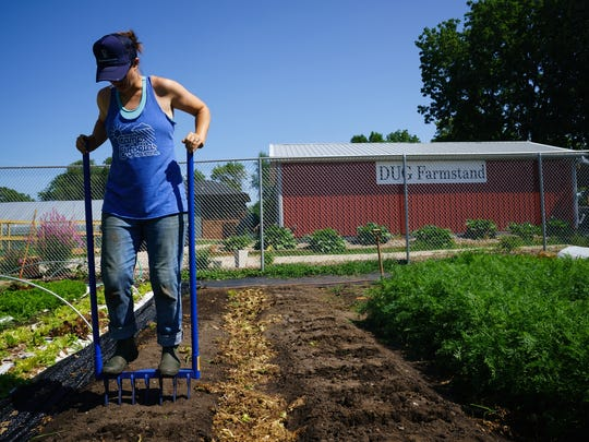 """More people want to know the farmer growing their food,"" said Jenny Quiner, 33, who runs Dogpatch Urban Gardens in Beaverdale on  July 19, 2017"