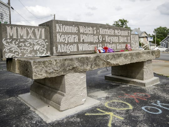 A bench was made in Flora, Ind., to memorialize the