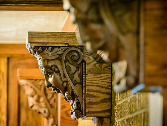 Detail in the woodwork in the English Tudor home at