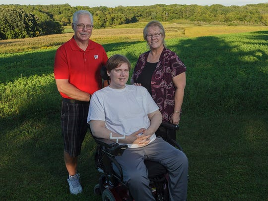 Lucas Lindner with his grandparents Dave and Karen