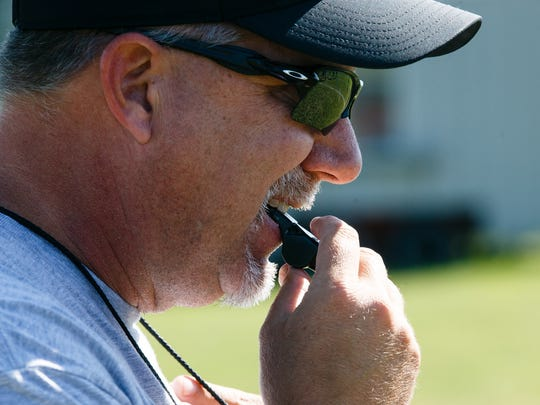 The Baxter Bolts head coach Rob Luther watches practice on Tuesday, Aug. 22, 2017 in Baxter. Luther, the former head coach of the Collins-Maxwell-Baxter 2A team, said he likes the faster pace of 8 man football and that you can coach it similar to basketball since the sidelines are so close to the action.