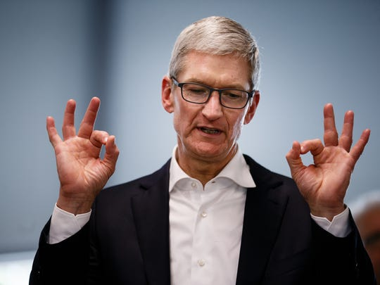 Apple CEO Tim Cook tours the Waukee Apex after announcing the company's plans for its $1.375 billion data center in Waukee on Aug. 24, 2017 in Waukee. State and local officials awarded Apple more than $213 million in incentives.