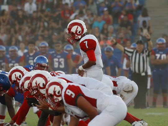 Indio High School, in blue uniform, hosted Desert Mirage High School at Ed White Stadium in Indio on August 25, 2017.