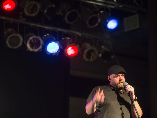 Bill Blank speaks at the Des Moines Storytellers event