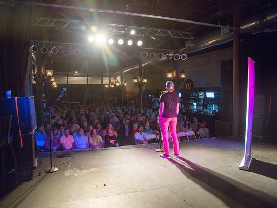 Jacqui Kalin speaks at the Des Moines Storytellers