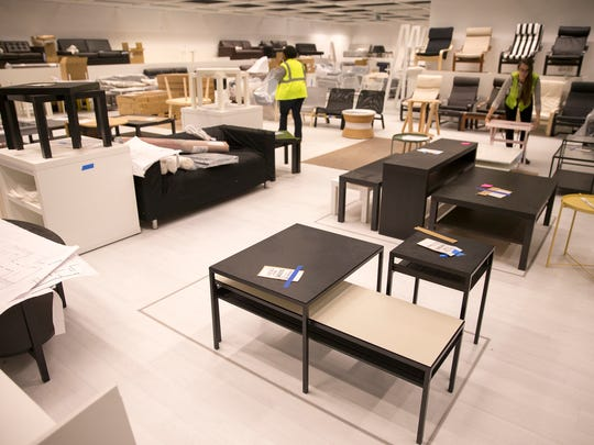 Various tables and living room items in the under-installation IKEA, in Fishers, which is slated to have its grand opening on October 11, Fishers, Tuesday, August 29, 2017. The building is up, and crews are working on putting together product and arranging the sales floor.
