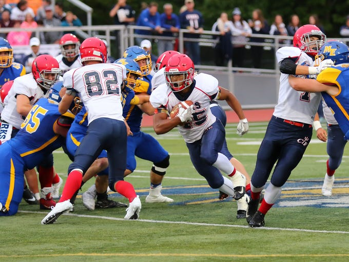 Jeremiah Allen breaks through a big hole for Chenango