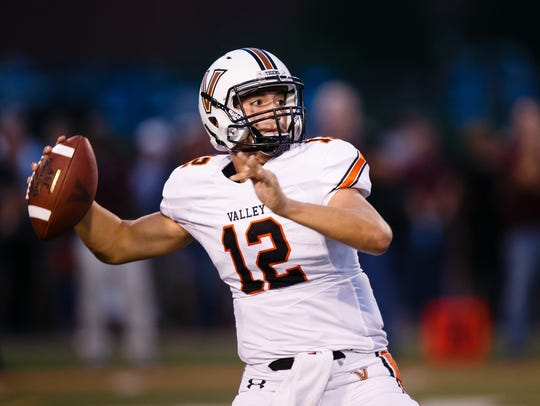 Valley's Beau Lombardi (12) passes during the first