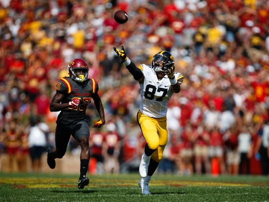 Iowa sophomore tight end Noah Fant (87) stretches for an overthrown ball during the second half of their football game at Jack Trice Stadium on Saturday, Sept. 9, 2017, in Ames. Iowa would go on to win 44-41.