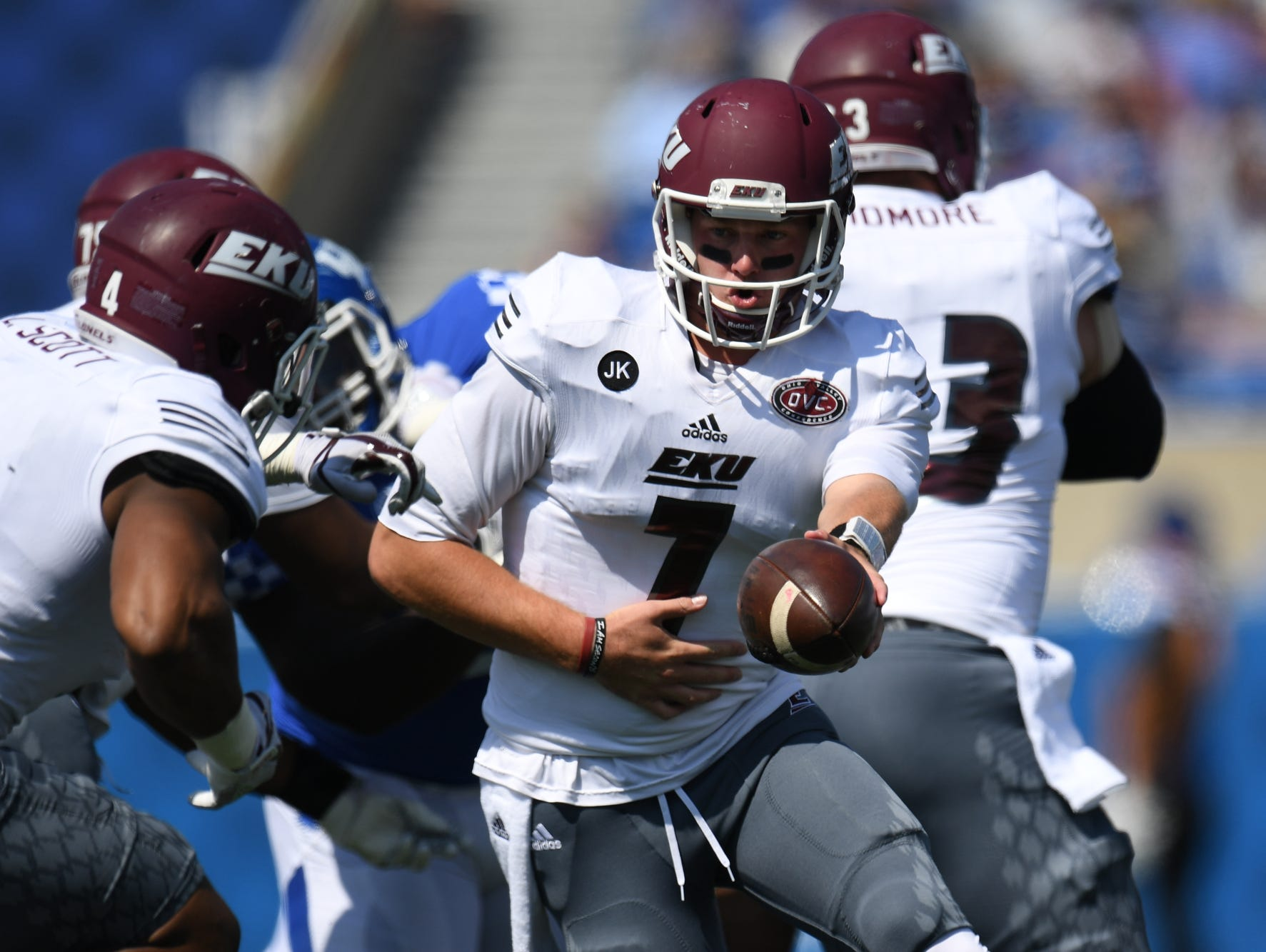 EKU QB Tim Boyle hands off the ball during the University of Kentucky football game against Eastern Kentucky University in Lexington, KY on Saturday, September 9, 2017.