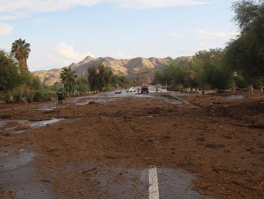 Debris at El Cielo Road near the intersection of Mesquite