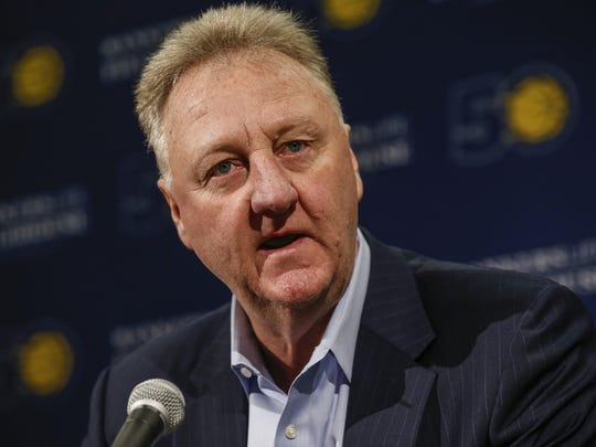 Indiana Pacers' Larry Bird announces that he is stepping