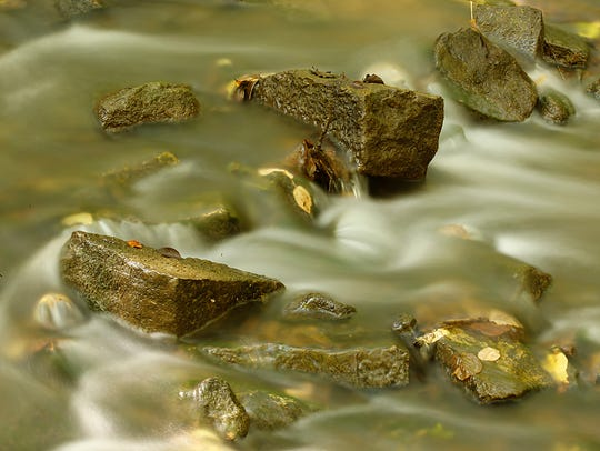 Water flows over rocks in a creek in Hobbs Woods. Wednesday