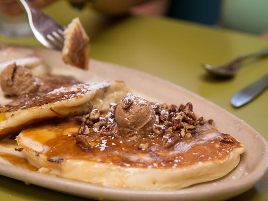 The signature sweet potato buttermilk pancakes at Snooze, an A.M. Eatery.