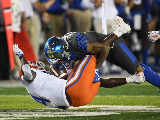 UK SS Kendall Randolph makes the tackle during the
