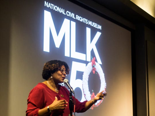 Terri Freeman, president of the National Civil Rights Museum, talks about the upcoming Moral Mondays initiative during a news conference Sept. 28, 2017, at the National Civil Rights Museum. The Moral Mondays initiative is park of the museum's MLK50 commemoration of the 50th anniversary of Dr. Martin Luther King Jr.'s assassination.