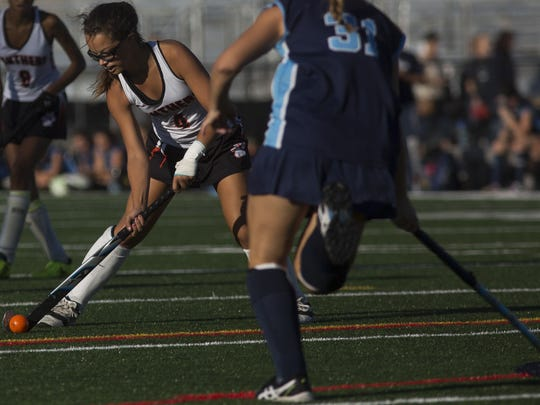 Central York's Bree Craley controls the ball. Central York defeats Dallastown 3-1 in field hockey at Central York High School, Monday, October 2, 2017.