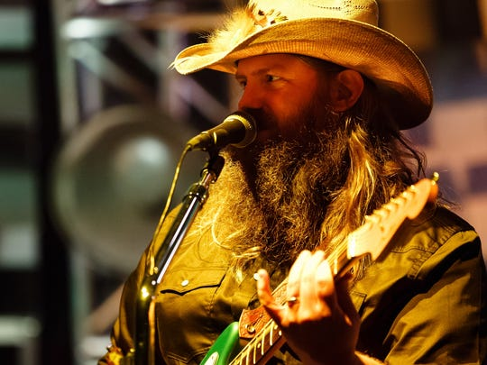 Chris Stapleton plays during his All American Roadshow tour on Friday, Oct. 6, 2017, in Des Moines.