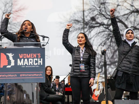 Tamika Mallory, Carmen Perez and Linda Sarsour, co-founders of the Women's March at the Women's March on Washington Jan. 21, 2017.