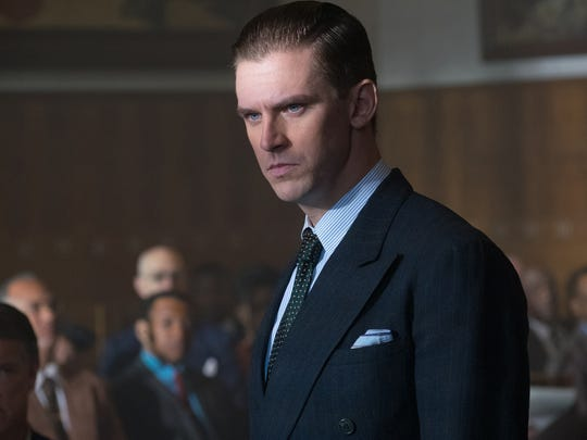 "Loren Willis (Dan Stevens) serves as the prosecutor in a 1941 court case in ""Marshall."""