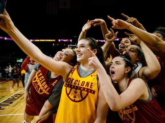 Iowa State's Bridget Carleton says thanks to fans during Hilton Madness at the Hilton Coliseum on Friday, Oct. 13, 2017, in Ames.