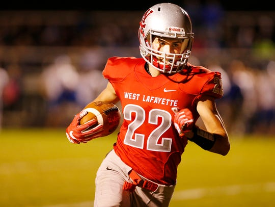 R.J. Erb of West Lafayette runs for a touchdown at