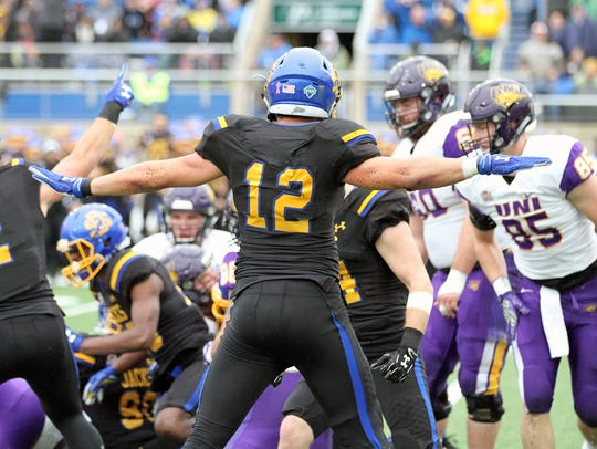 South Dakota State's Logan Backhaus (12) reacts to
