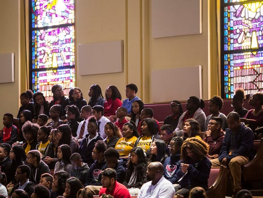 October 19, 2017 - Students listen during the National Civil Rights Museum Freedom Award 2017 Student Forum at Mississippi Boulevard Christian Church. This year's Freedom Award Honorees are Rev. Bernice A. King, Hugh Masekela and Morris Dees.
